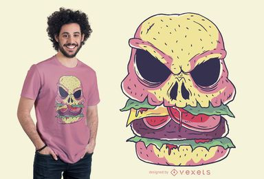 Design de t-shirt de hambúrguer de crânio
