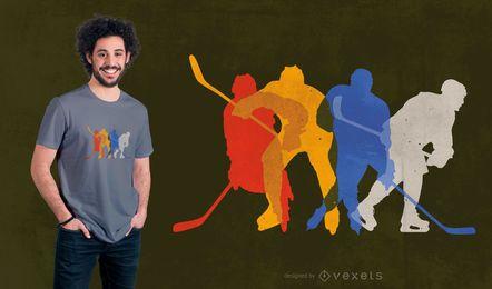 Design de t-shirt de jogadores de hóquei