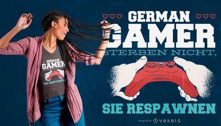 Deutscher Gamer-Zitat-T-Shirt Entwurf