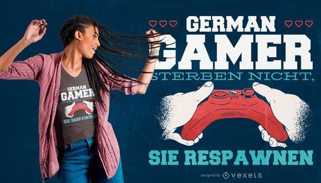 Diseño de camiseta German Gamer Quote