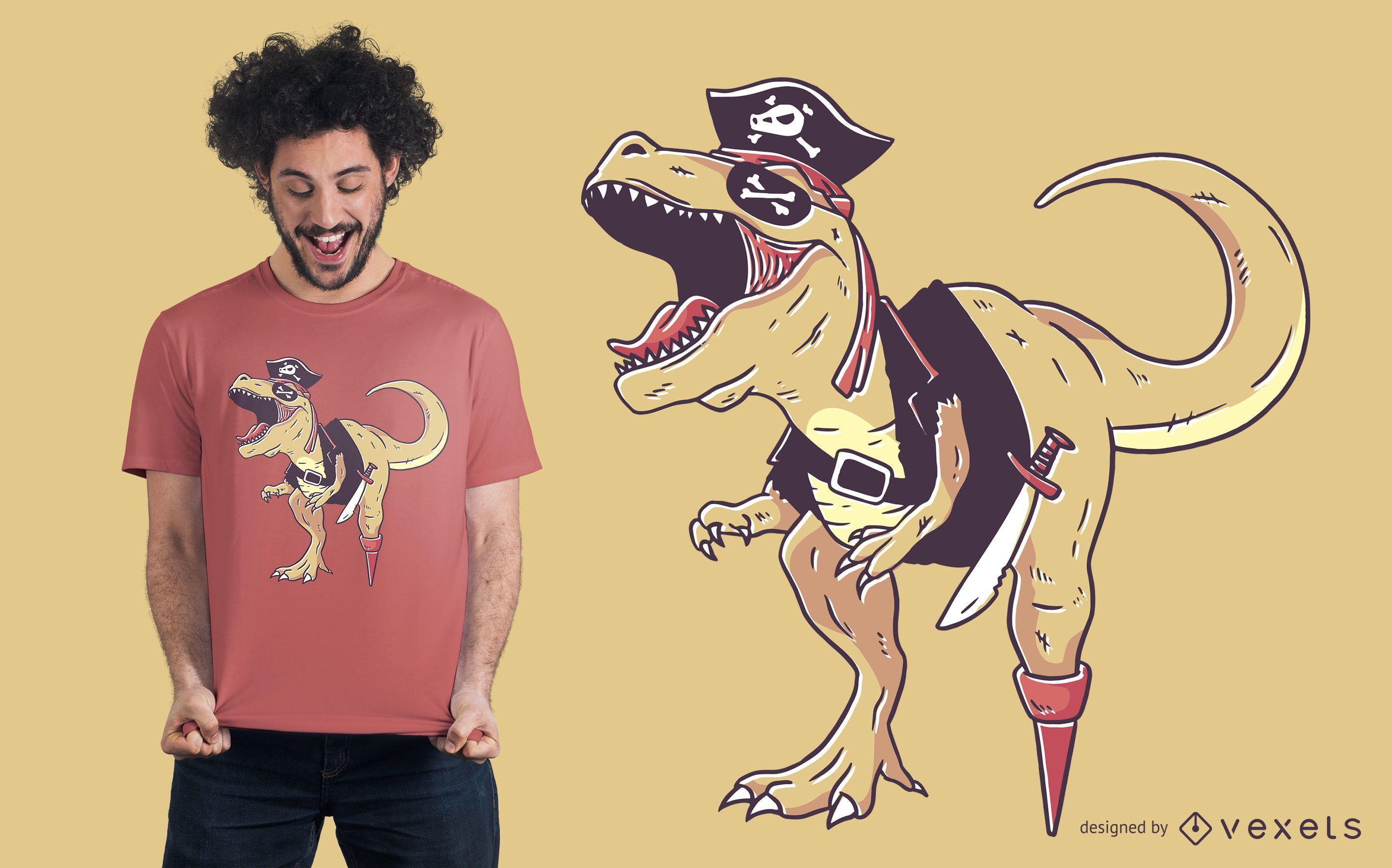 Diseño de camiseta de dinosaurio pirata