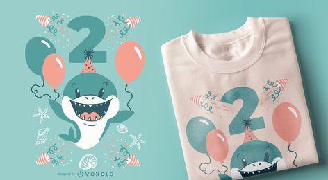 Diseño de camiseta de tiburón de dos años