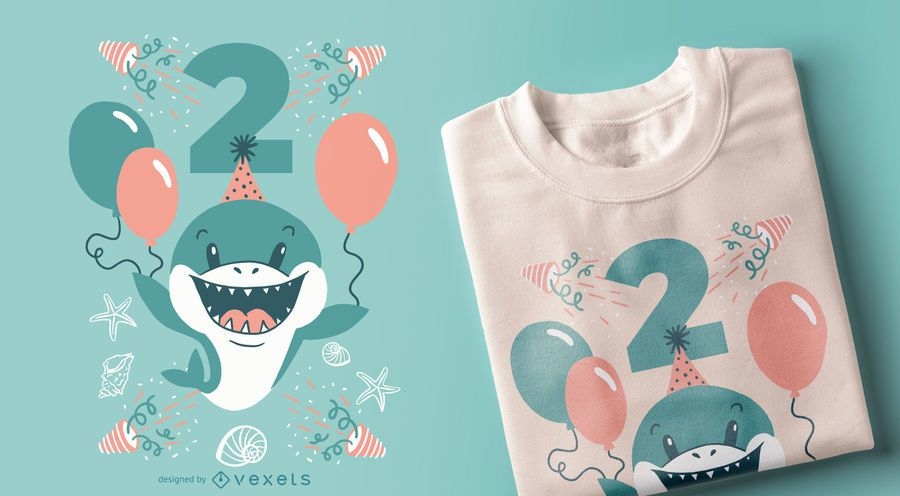 Two Year-Old Shark T-shirt Design