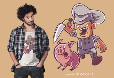 Diseño de camiseta Funny Piggy Butcher Chef