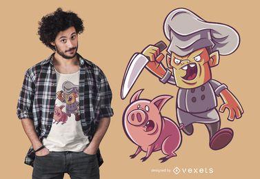 Diseño divertido de la camiseta del cocinero de Piggy Butcher