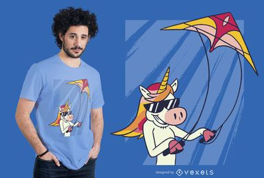 Diseño de camiseta de unicornio Flying Kite