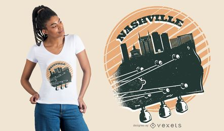 Diseño de camiseta de Nashville Music Skyline