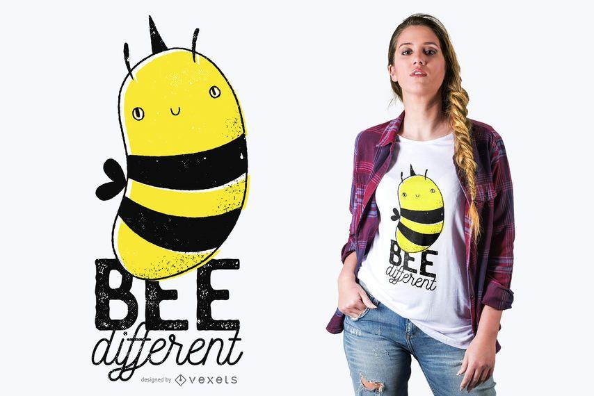 Design diferente do t-shirt das citações da abelha