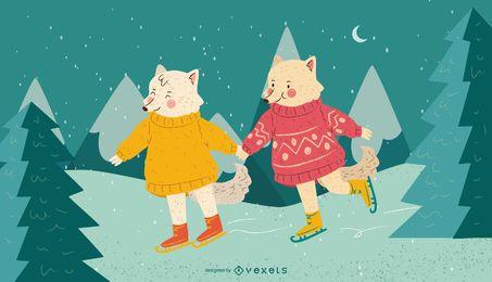 Winter animals ice skating
