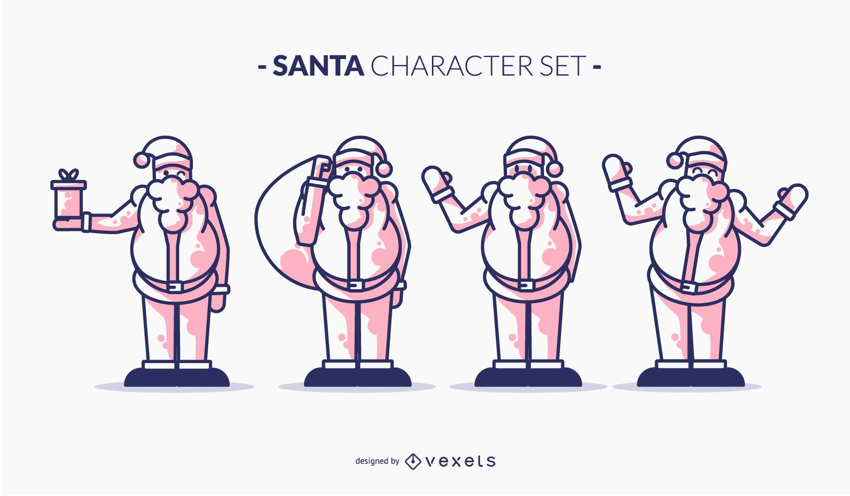Conjunto de caracteres Santa duotono