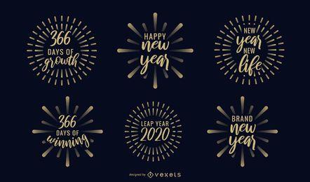 Conjunto de emblemas de fogo de artifício do ano novo