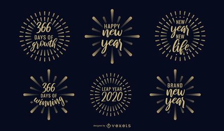 Conjunto de emblemas de fogos de artifício de ano novo