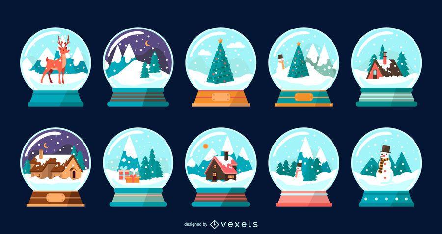 Colección de vectores planos de globos de nieve