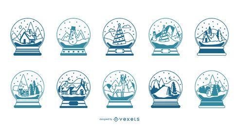 Coleção de vetores de traços de globos de neve