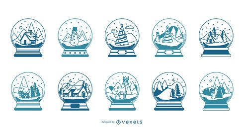 Snowglobes stroke vector collection