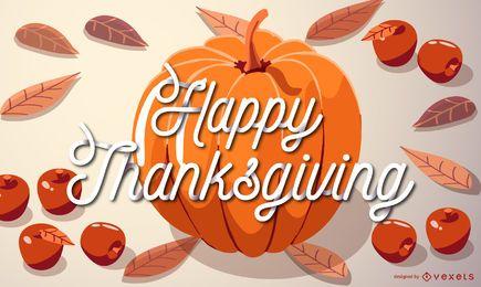 Ilustração de abóbora feliz dia de graças