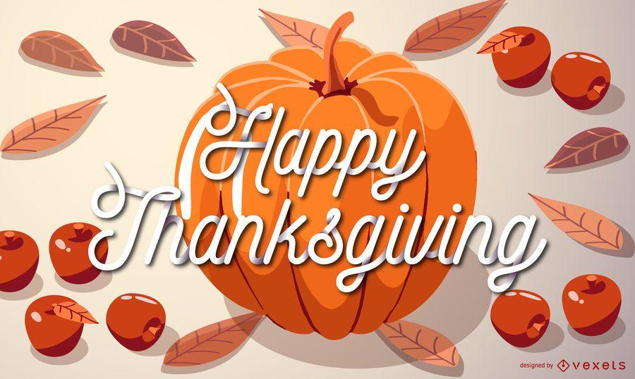 Happy thanksgiving pumpkin illustration