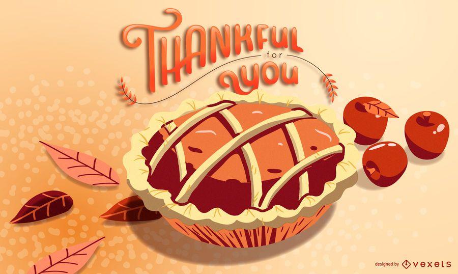 Diseño de ilustración de pastel agradecido