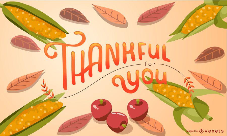 Diseño de ilustración de maíz agradecido