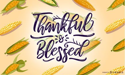 Thankful blessed corn illuistration