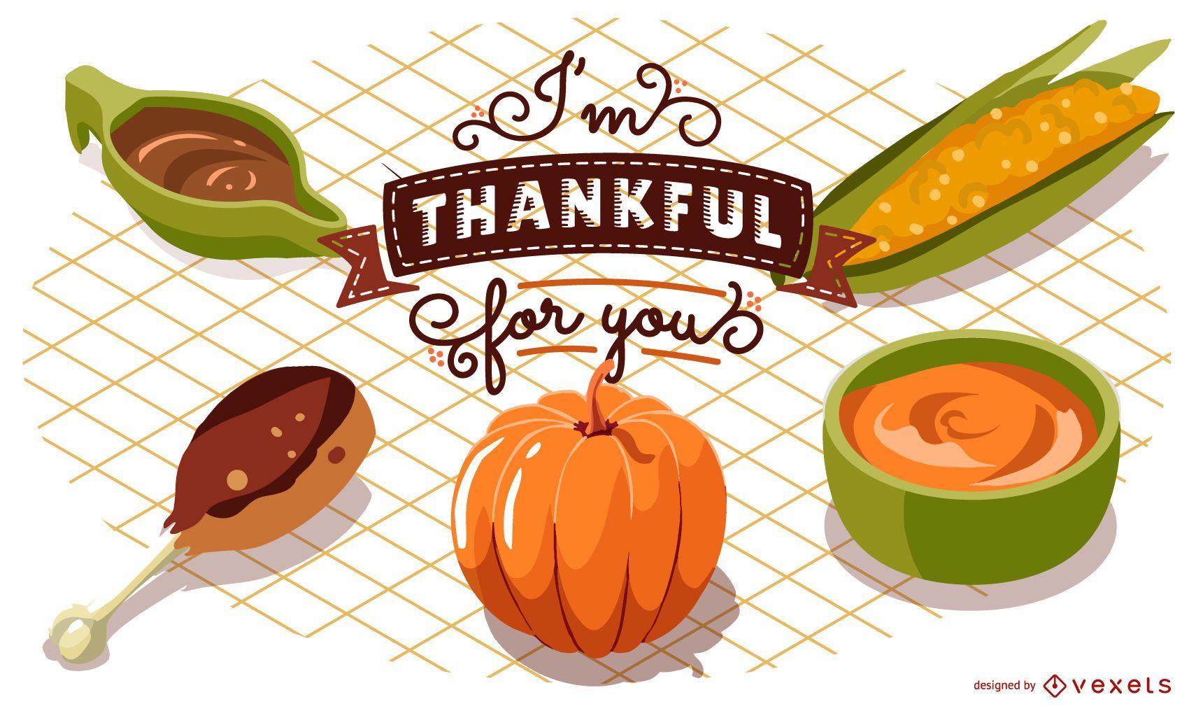 Diseño de ilustración de comida de acción de gracias