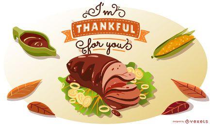 Ilustração de citação de comida de ação de Graças