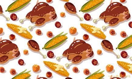 Design de padrão de alimentos de ação de Graças