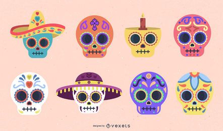 Sugar skull flat color set