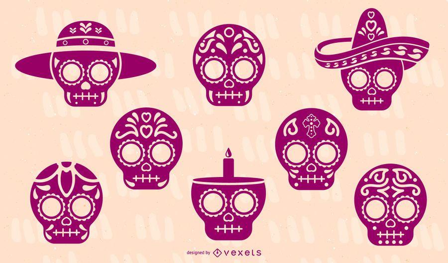 Sugar skull silhouette set