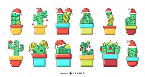 Colección de cactus navideño
