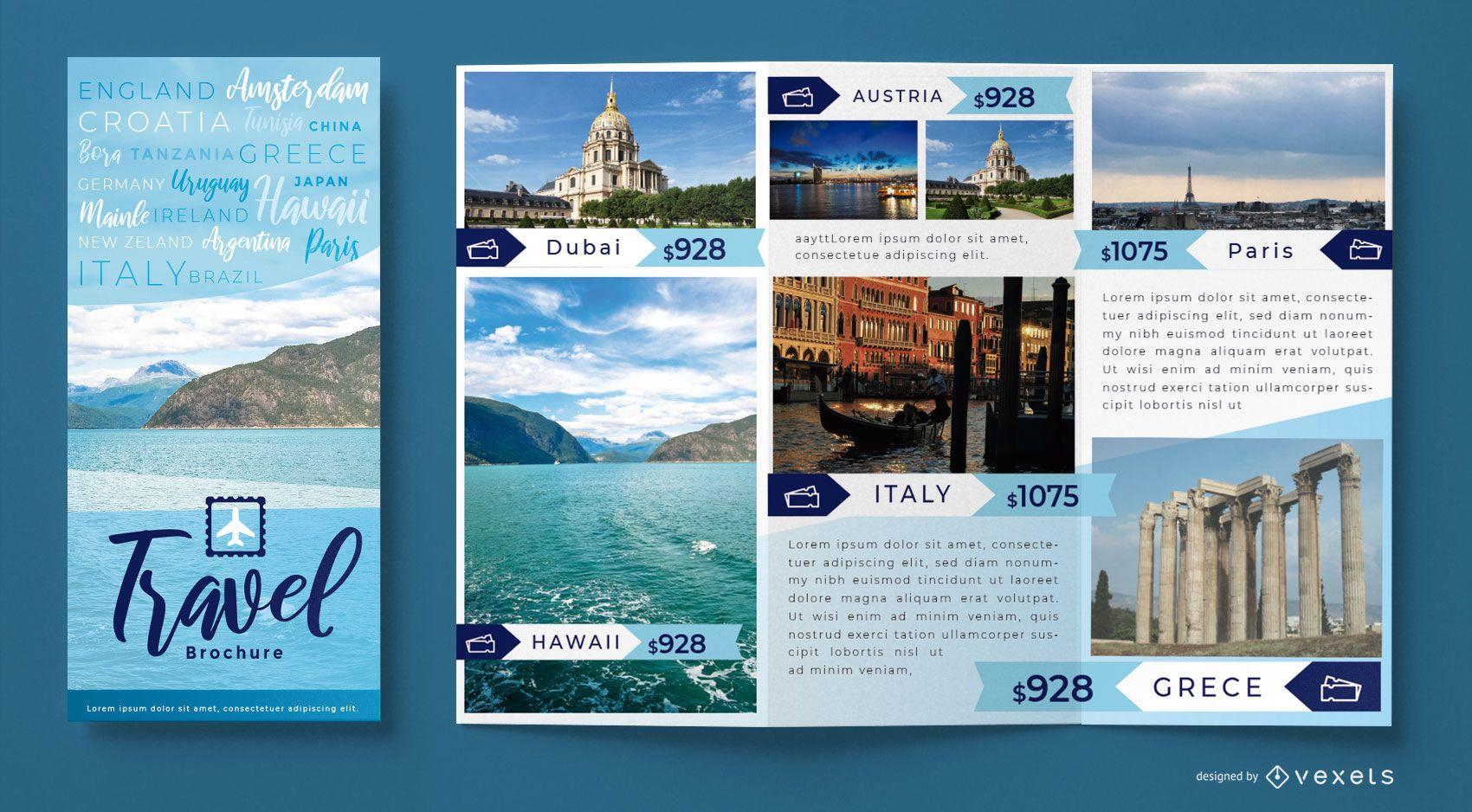 Plantilla de folleto de ciudad de agencia de viajes