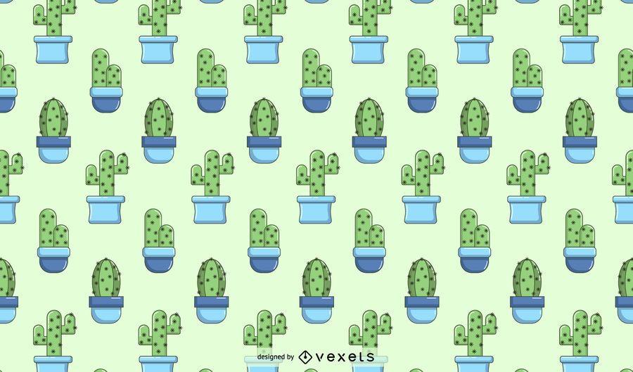 Cactus blue pattern design