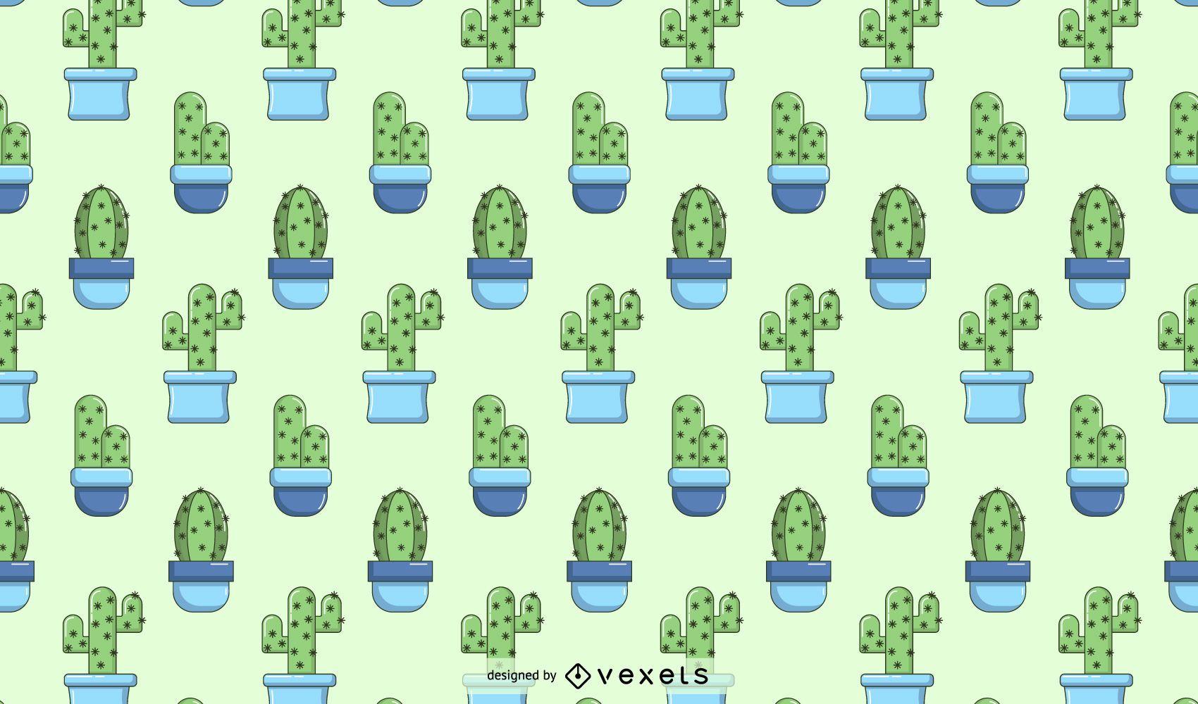 Diseño de patrón de cactus azul