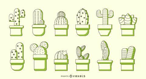 Cactus duotone vector set