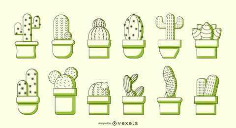 Kaktus duotone Vektorsatz