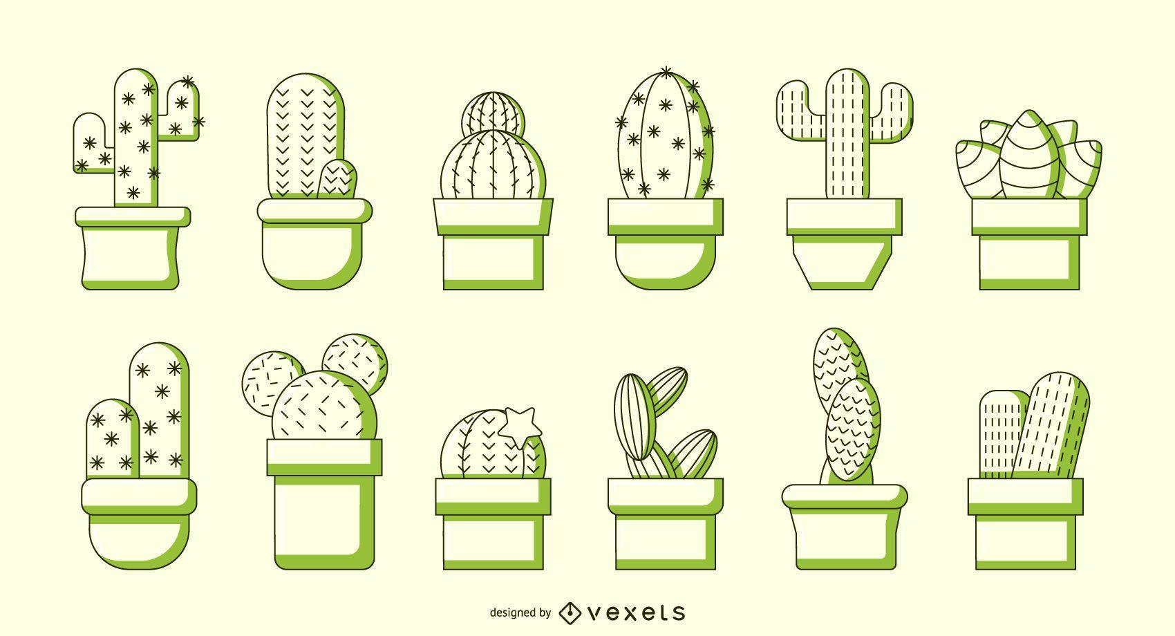 Conjunto de vector de duotono de cactus