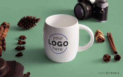 Plantilla de maqueta de logotipo de taza