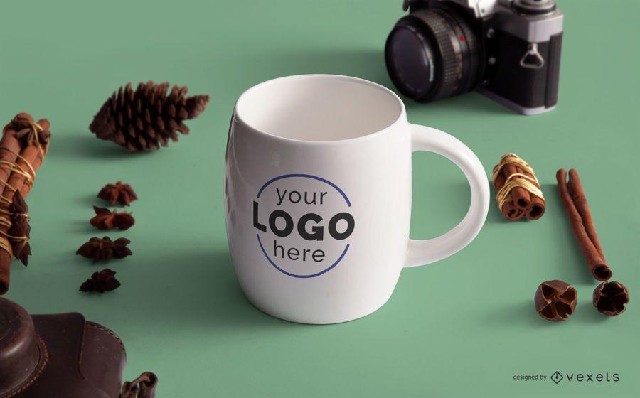Maqueta de logotipo de taza