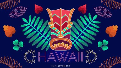 Hawaii neon editable design