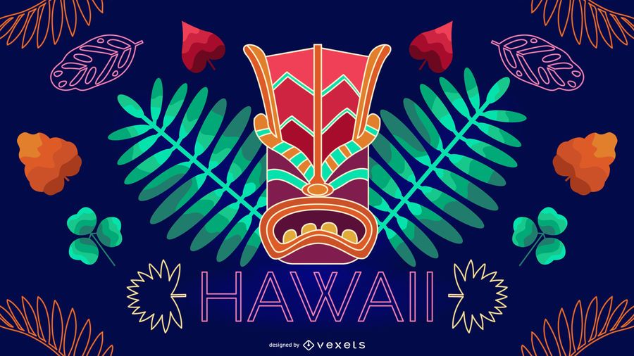 Diseño editable de neón de Hawaii
