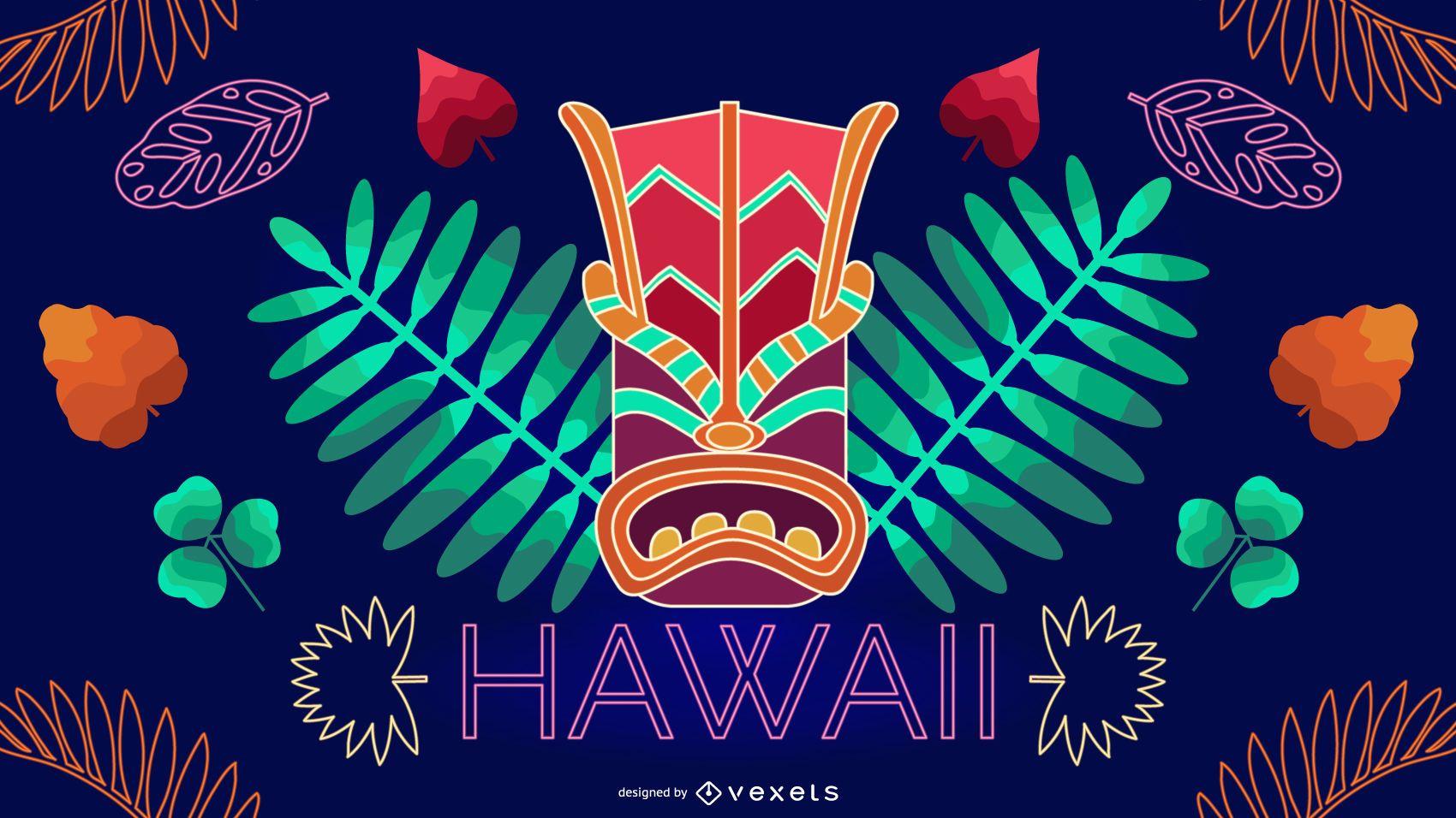 Diseño editable de neón de Hawaii