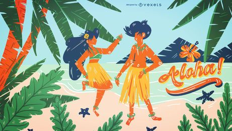 Hawaii beach illustration design