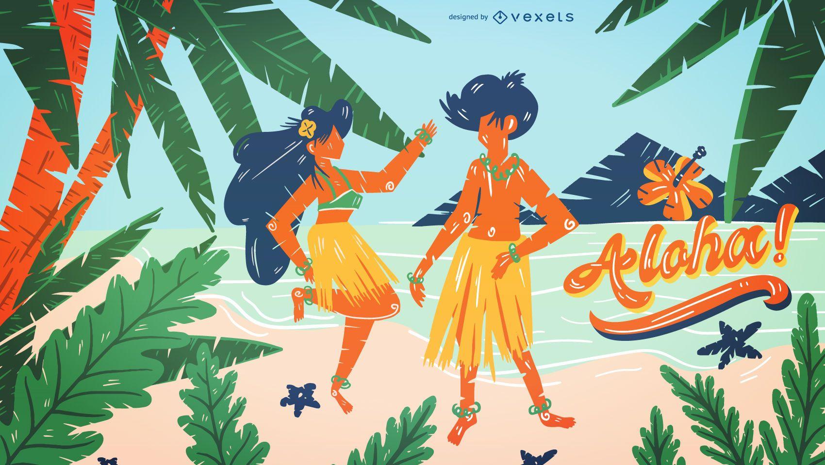Diseño de ilustración de playa de Hawaii