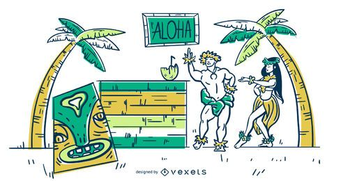 Hawaii stroke illustration
