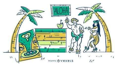 Ilustración de trazo de Hawaii