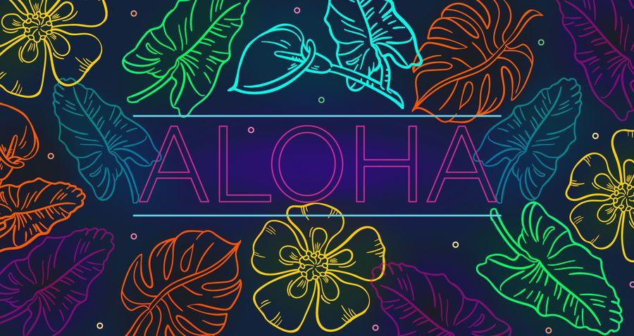 Aloha design gráfico de néon