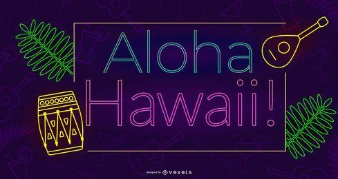 Diseño de neón aloha hawaii
