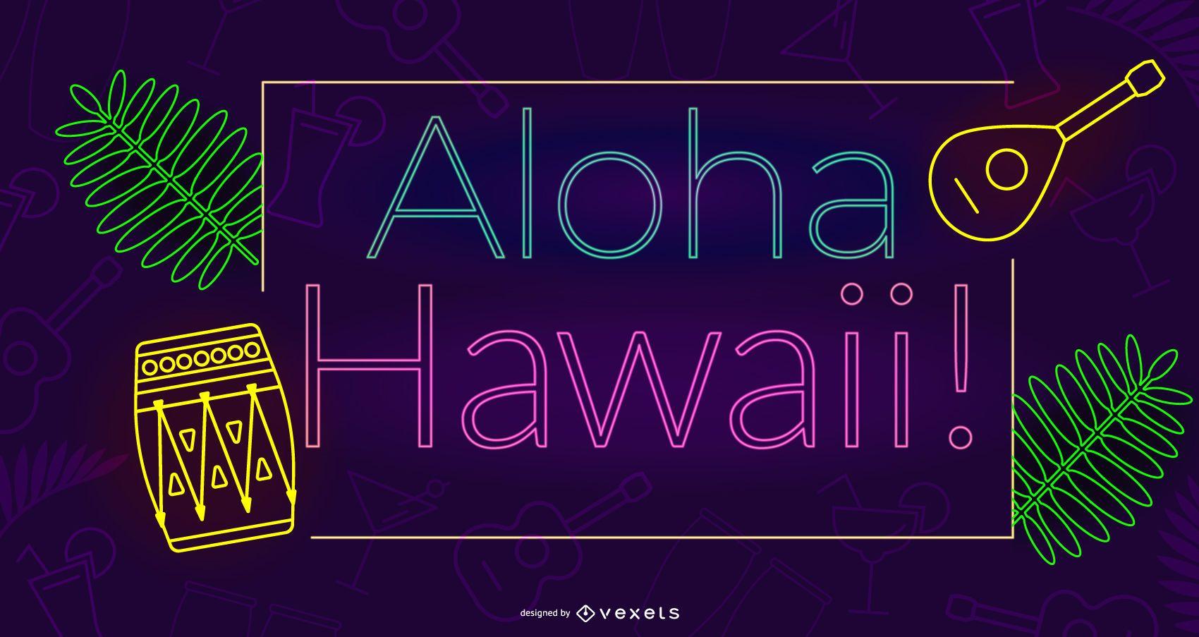 Dise?o de ne?n aloha hawaii
