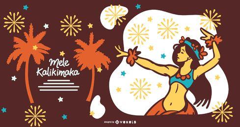 Mele kalikimaka hawaii illustration