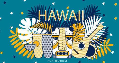 Ilustração de elementos do Havaí